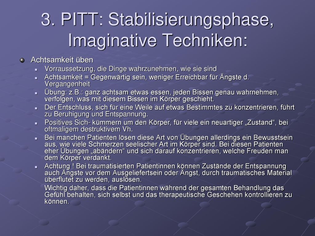 3. PITT: Stabilisierungsphase, Imaginative Techniken: