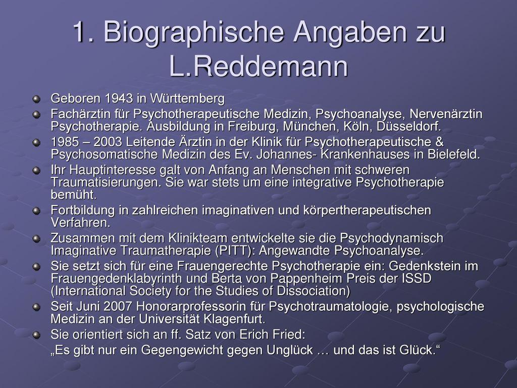 1. Biographische Angaben zu L.Reddemann