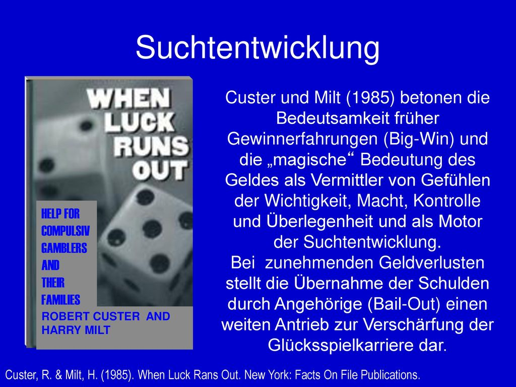 Suchtentwicklung HELP FOR. COMPULSIV. GAMBLERS. AND. THEIR. FAMILIES. ROBERT CUSTER AND HARRY MILT.