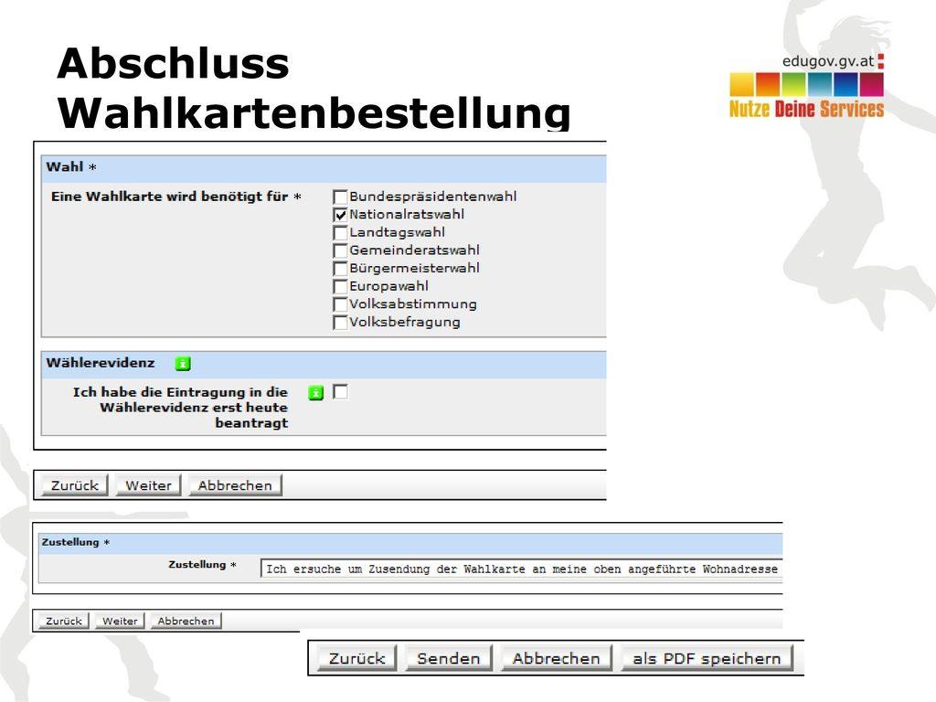 Abschluss Wahlkartenbestellung