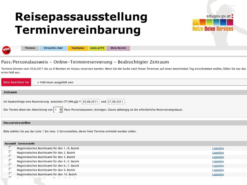 Reisepassausstellung Terminvereinbarung
