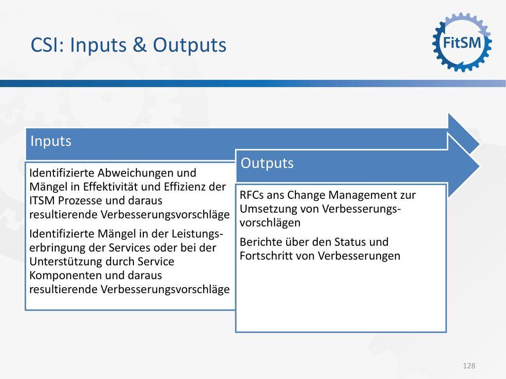 CSI: Inputs & Outputs Inputs Outputs