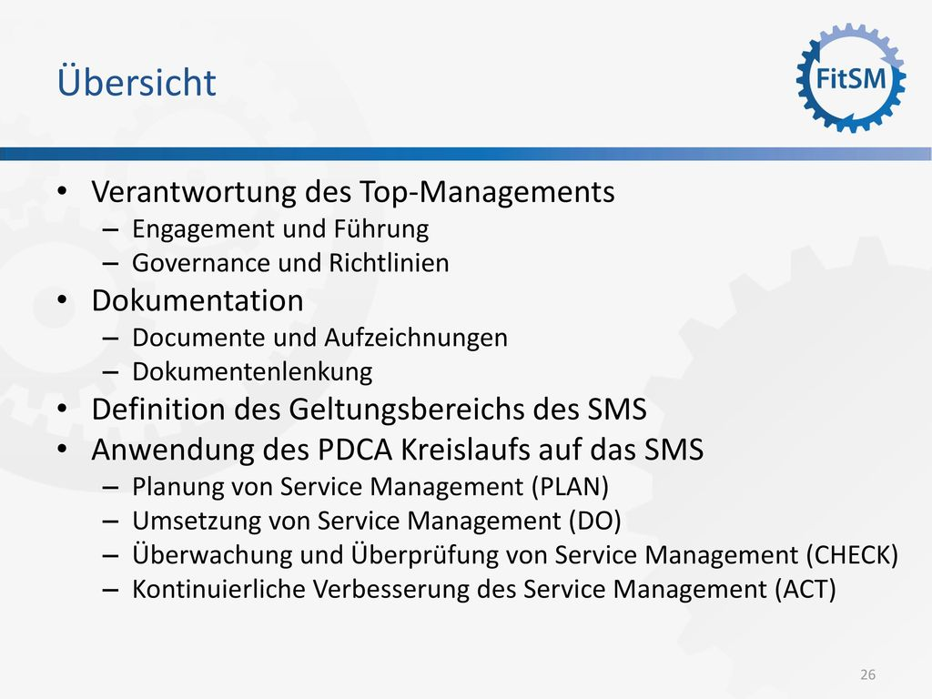 Übersicht Verantwortung des Top-Managements Dokumentation