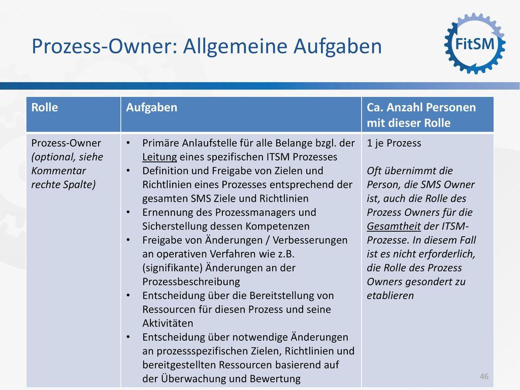 Prozess-Owner: Allgemeine Aufgaben