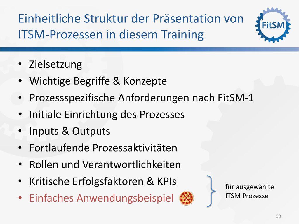 Einheitliche Struktur der Präsentation von ITSM-Prozessen in diesem Training