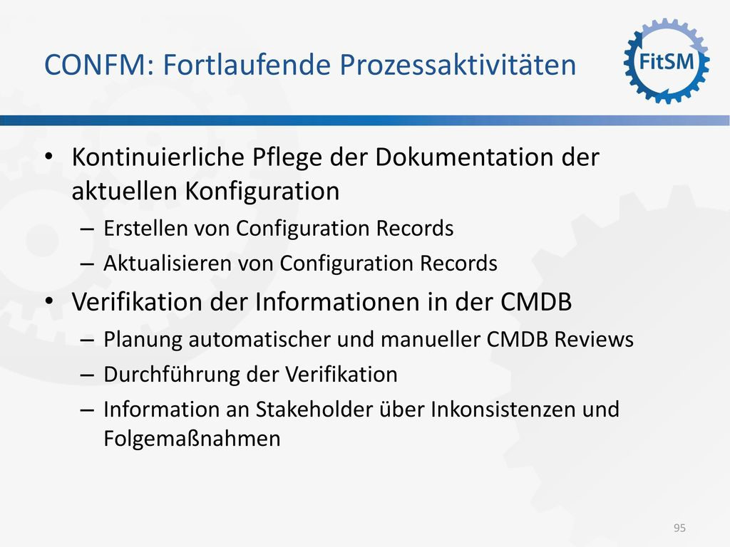 CONFM: Fortlaufende Prozessaktivitäten
