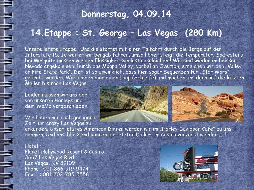 Donnerstag, 04.09.14 14.Etappe : St. George – Las Vegas (280 Km)