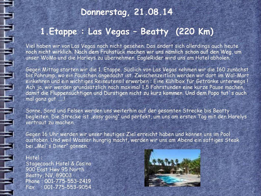 Donnerstag, 21.08.14 1.Etappe : Las Vegas – Beatty (220 Km)