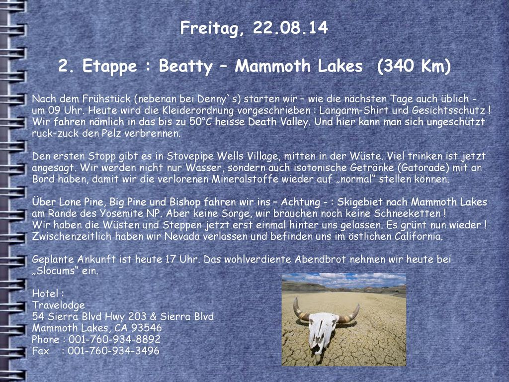 Freitag, Etappe : Beatty – Mammoth Lakes (340 Km)