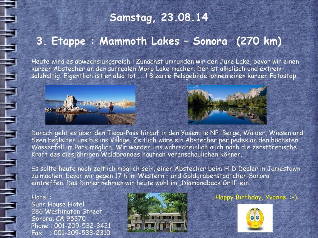 Samstag, 23.08.14 3. Etappe : Mammoth Lakes – Sonora (270 km)