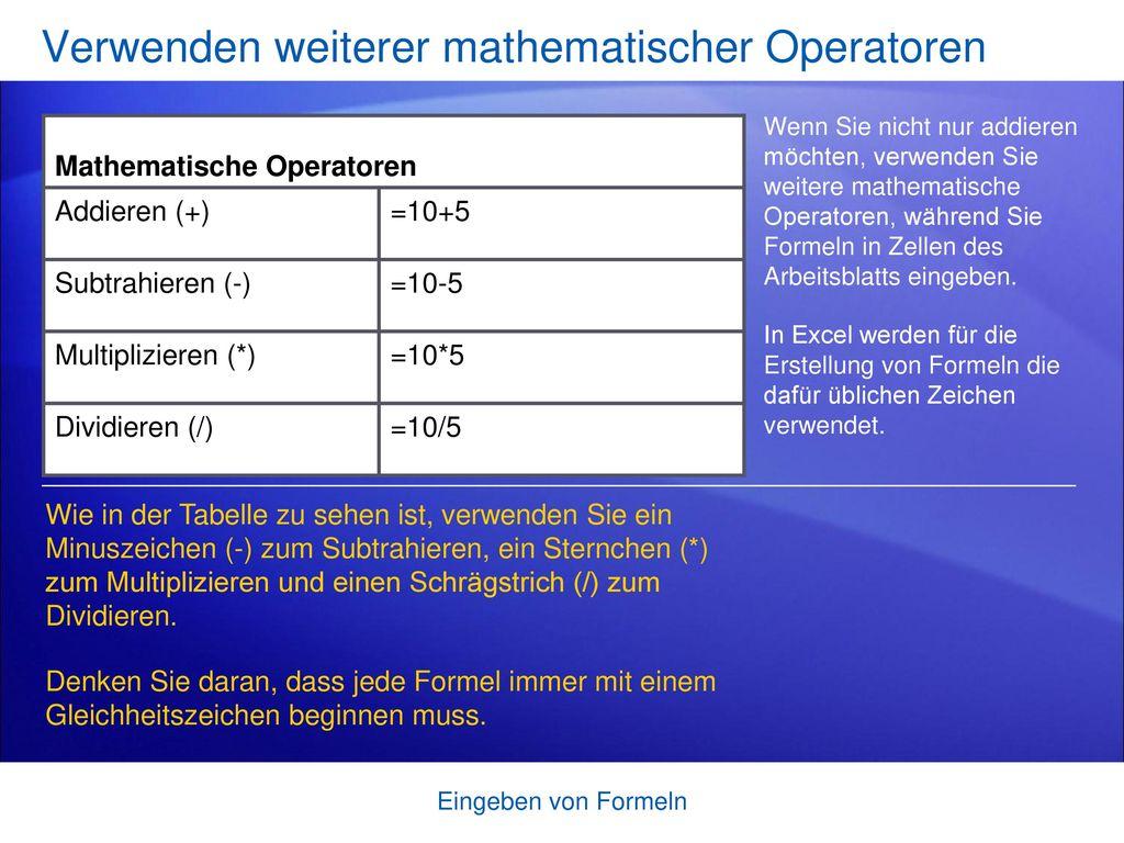 Verwenden weiterer mathematischer Operatoren