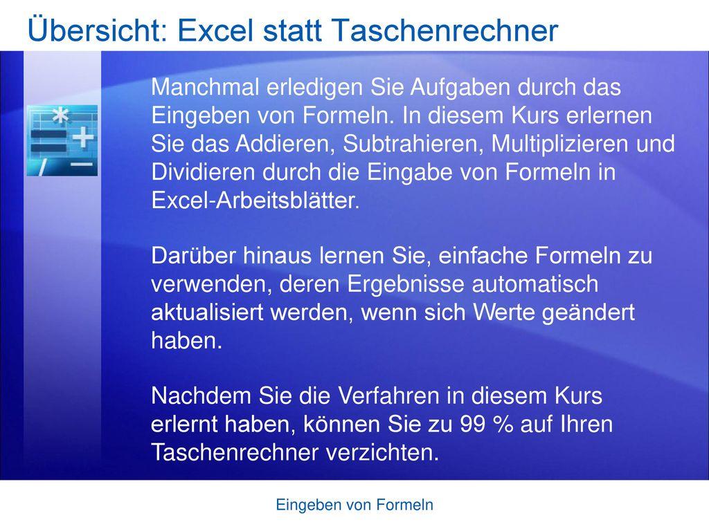 Übersicht: Excel statt Taschenrechner