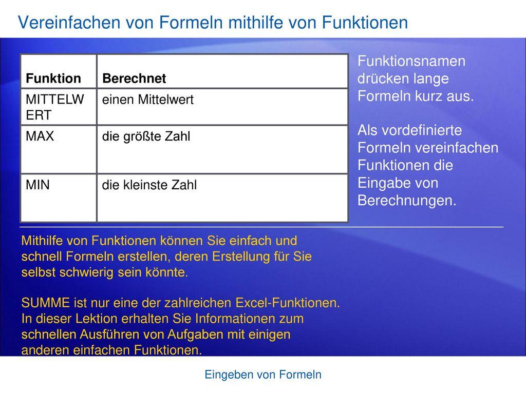 Vereinfachen von Formeln mithilfe von Funktionen