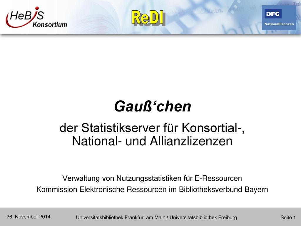 Gauß'chen der Statistikserver für Konsortial-, National- und Allianzlizenzen