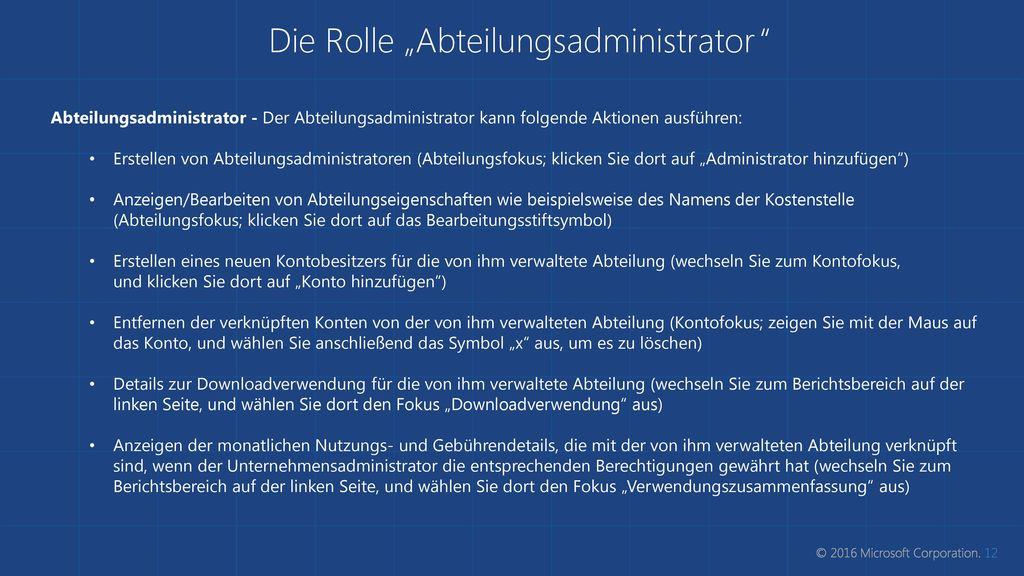 """Die Rolle """"Abteilungsadministrator"""