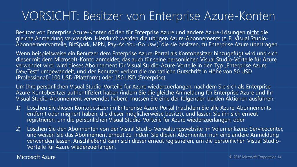 VORSICHT: Besitzer von Enterprise Azure-Konten