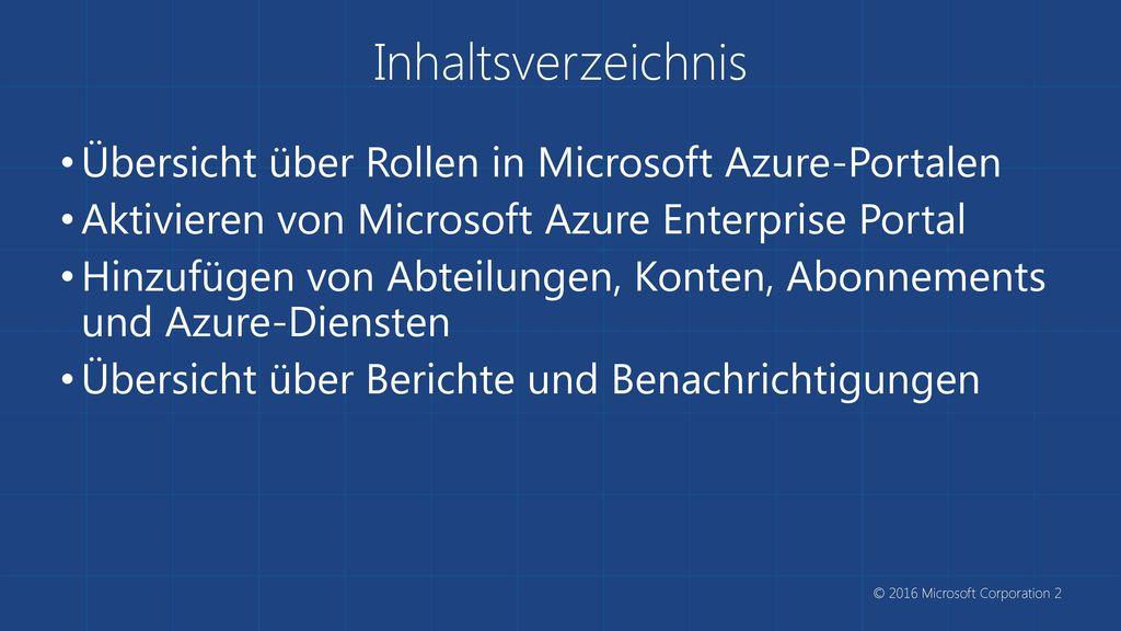 Inhaltsverzeichnis Übersicht über Rollen in Microsoft Azure-Portalen