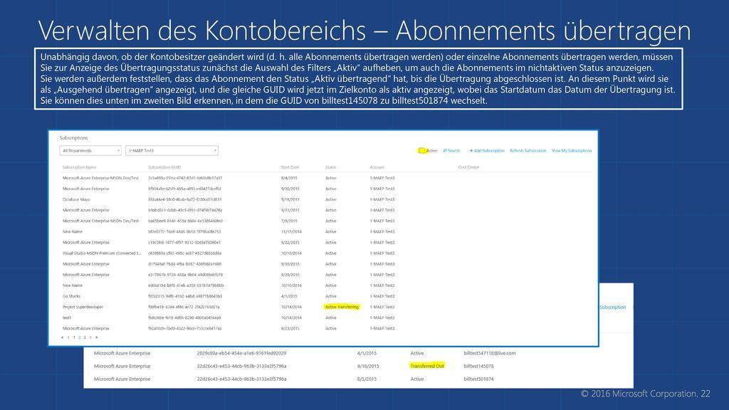 Verwalten des Kontobereichs – Abonnements übertragen