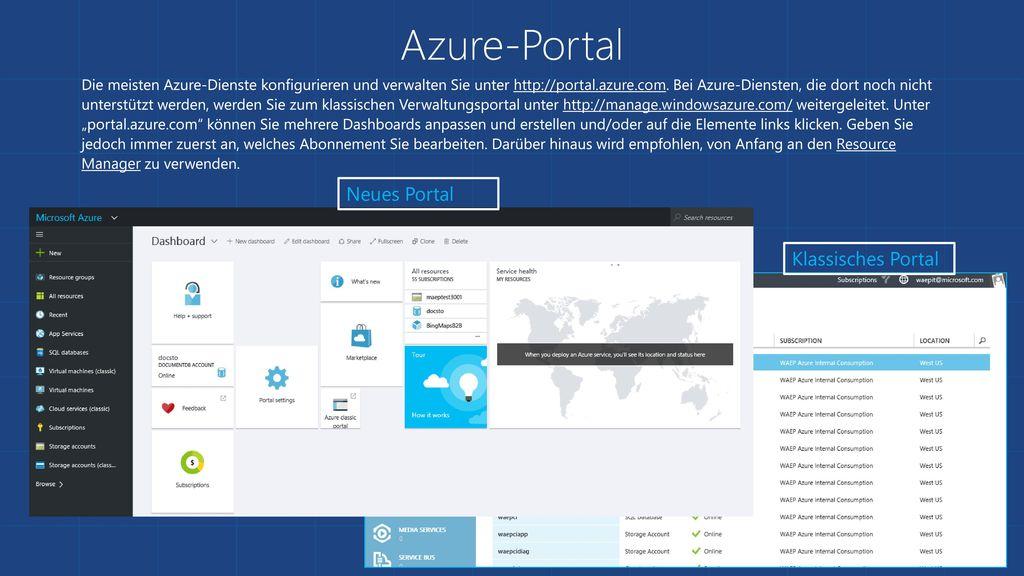 Azure-Portal Neues Portal Klassisches Portal