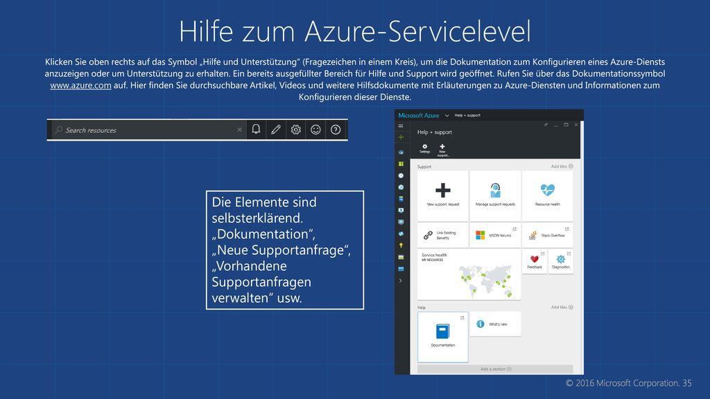 Hilfe zum Azure-Servicelevel