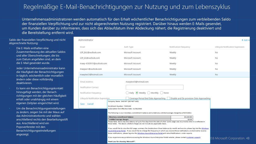 Regelmäßige E-Mail-Benachrichtigungen zur Nutzung und zum Lebenszyklus