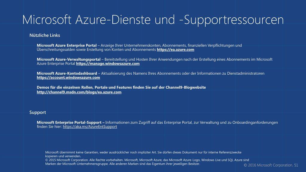 Microsoft Azure-Dienste und -Supportressourcen