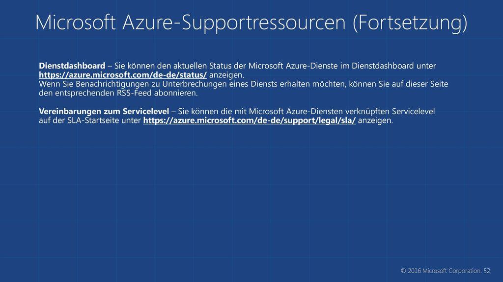 Microsoft Azure-Supportressourcen (Fortsetzung)