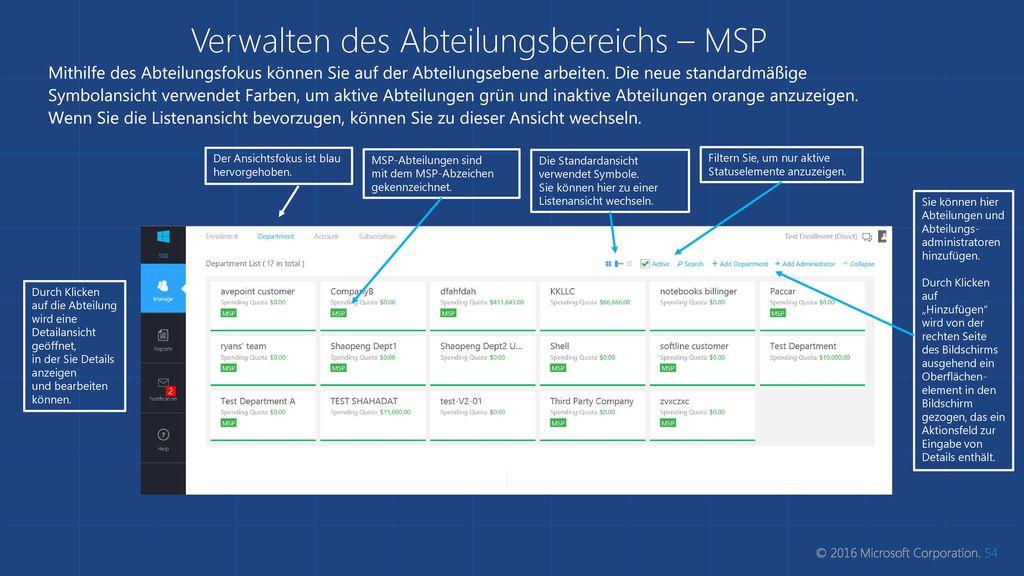 Verwalten des Abteilungsbereichs – MSP