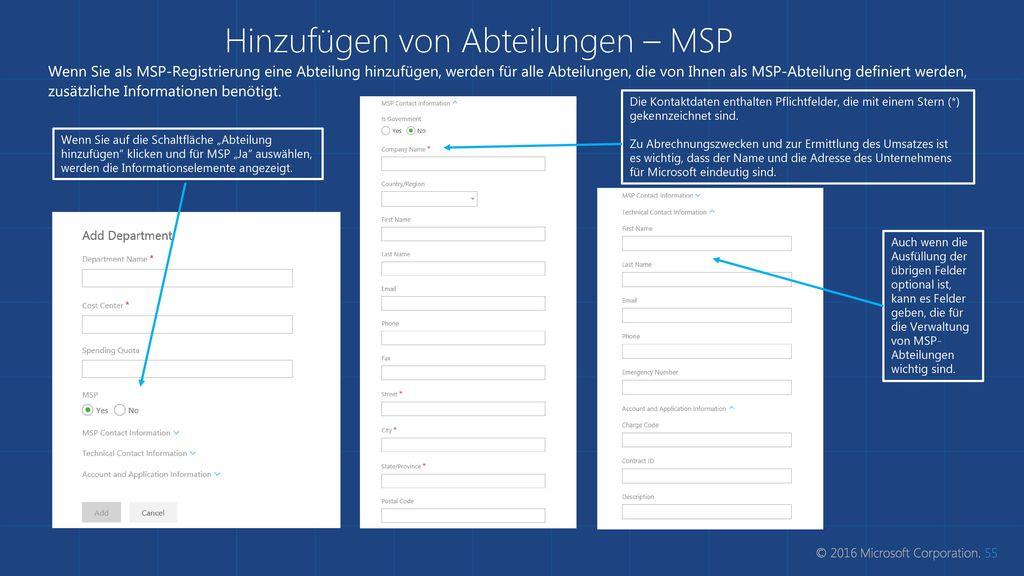 Hinzufügen von Abteilungen – MSP