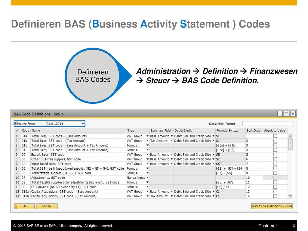 Definieren BAS (Business Activity Statement ) Codes