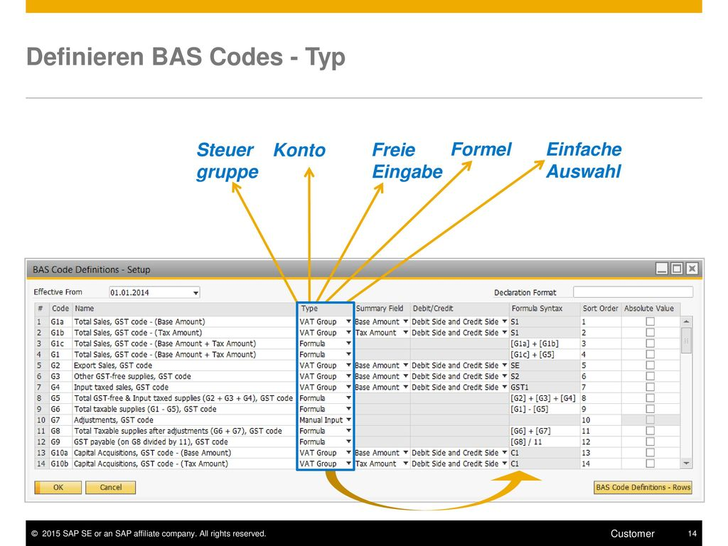 Definieren BAS Codes - Typ