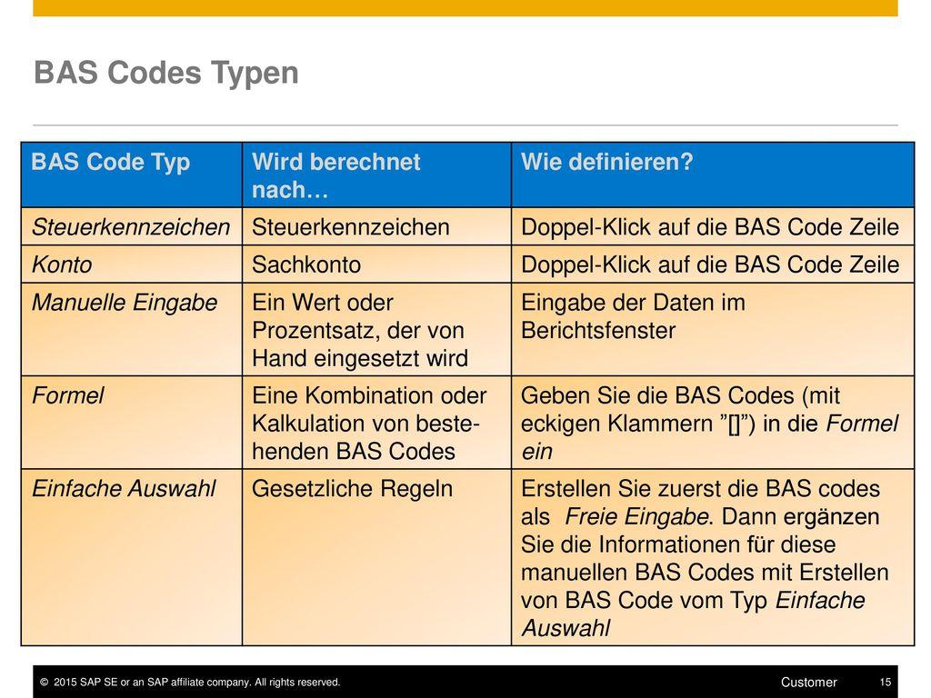 BAS Codes Typen Wie definieren Wird berechnet nach… BAS Code Typ