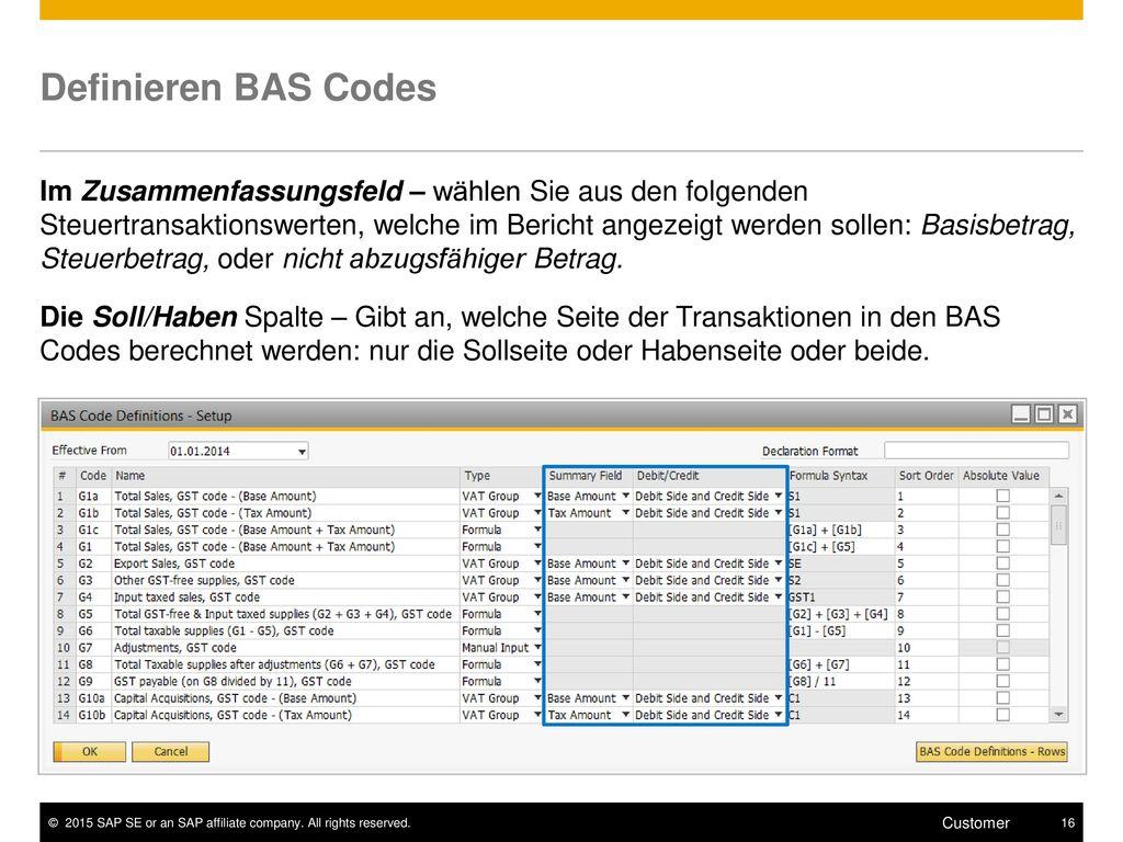 Definieren BAS Codes