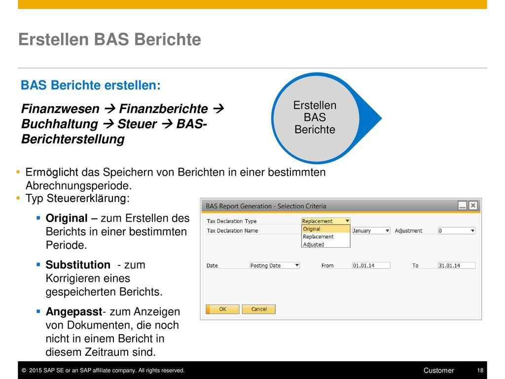 Erstellen BAS Berichte