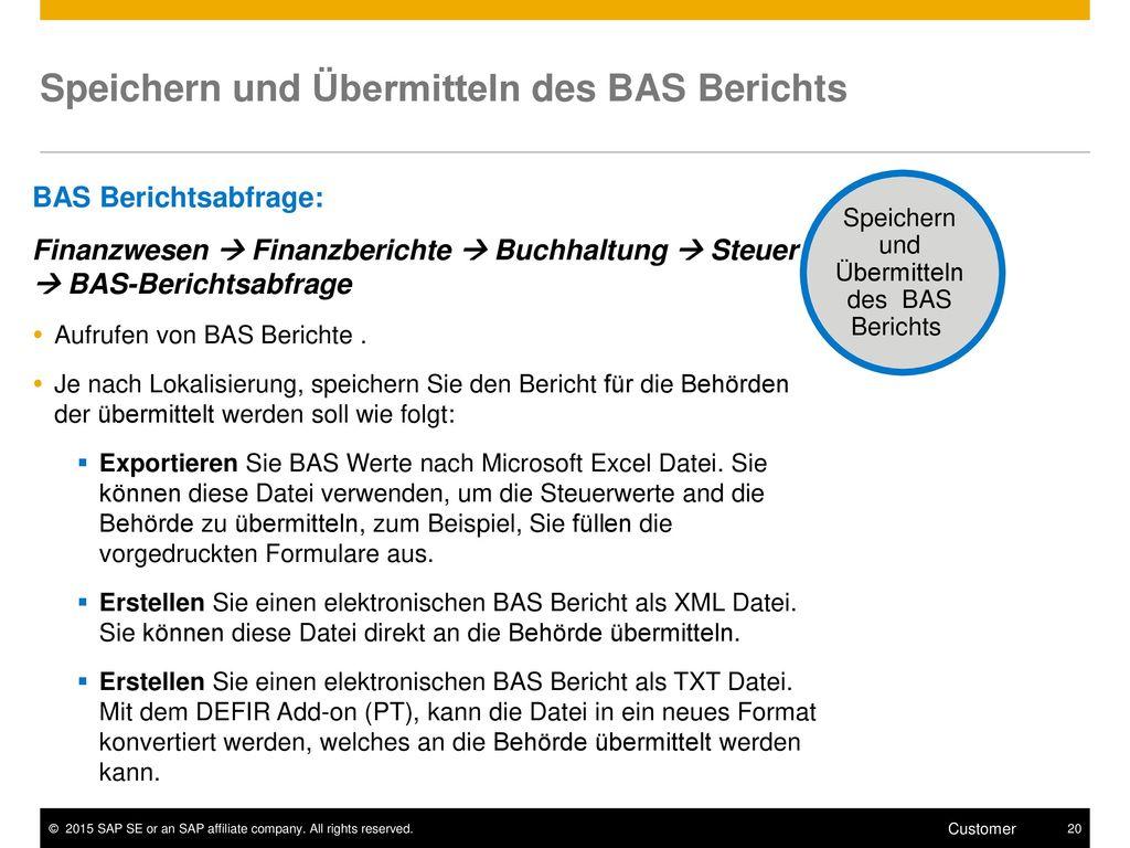 Speichern und Übermitteln des BAS Berichts