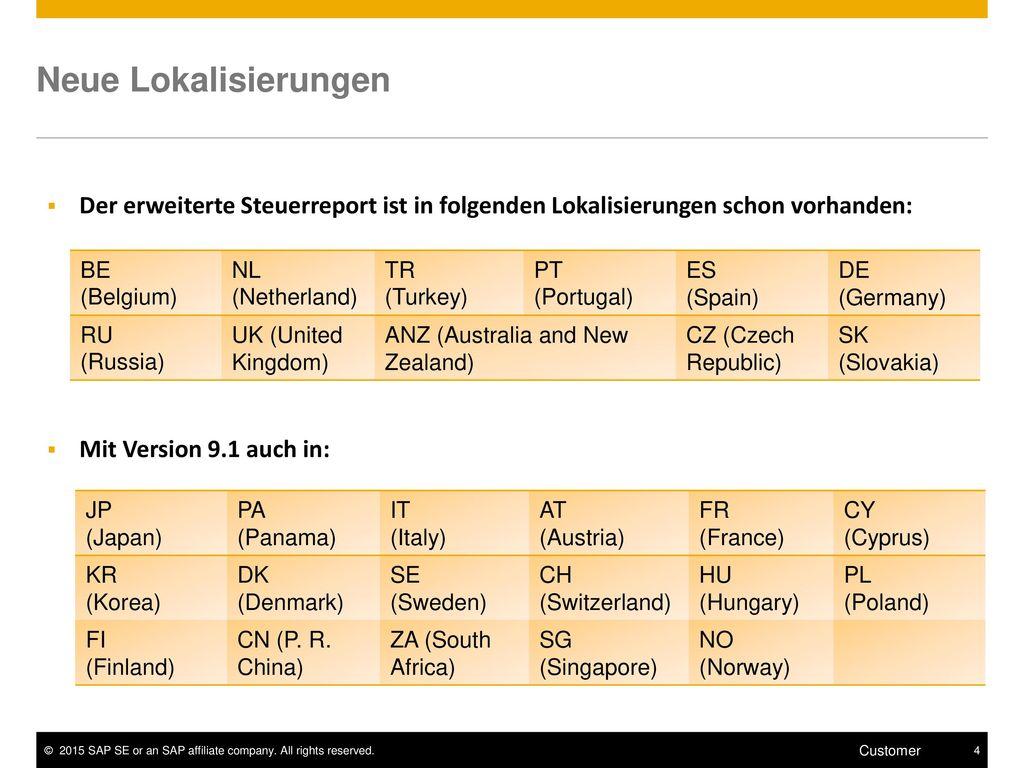 Neue Lokalisierungen Der erweiterte Steuerreport ist in folgenden Lokalisierungen schon vorhanden: DE (Germany)