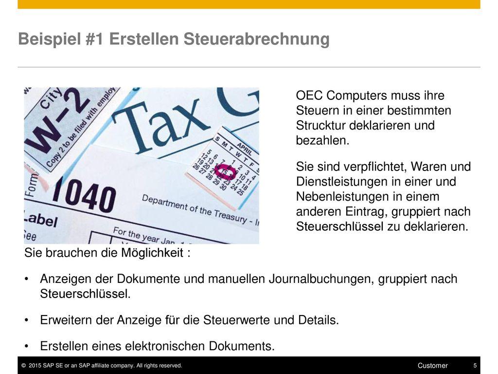 Beispiel #1 Erstellen Steuerabrechnung