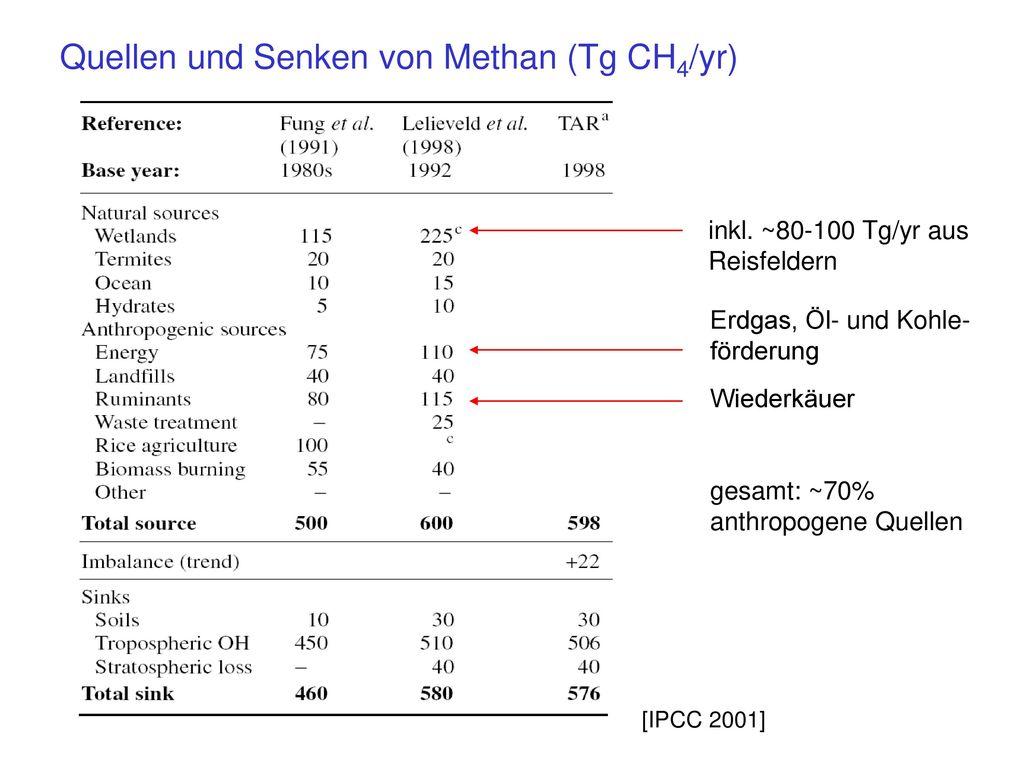 Quellen und Senken von Methan (Tg CH4/yr)