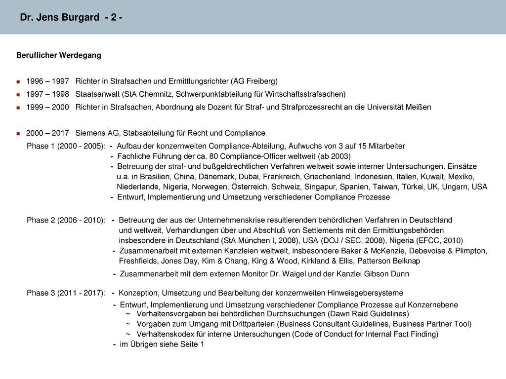 Dr. Jens Burgard - 2 - Beruflicher Werdegang