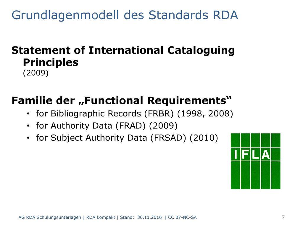 Grundlagenmodell des Standards RDA