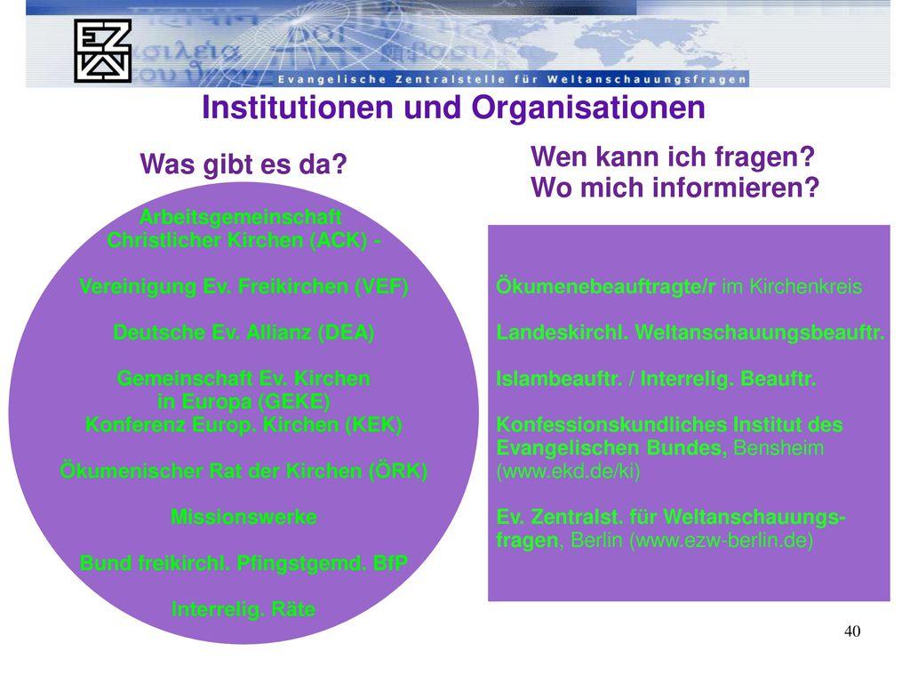 """Im """"christlichen Dschungel ... - Institutionen und Organisationen"""