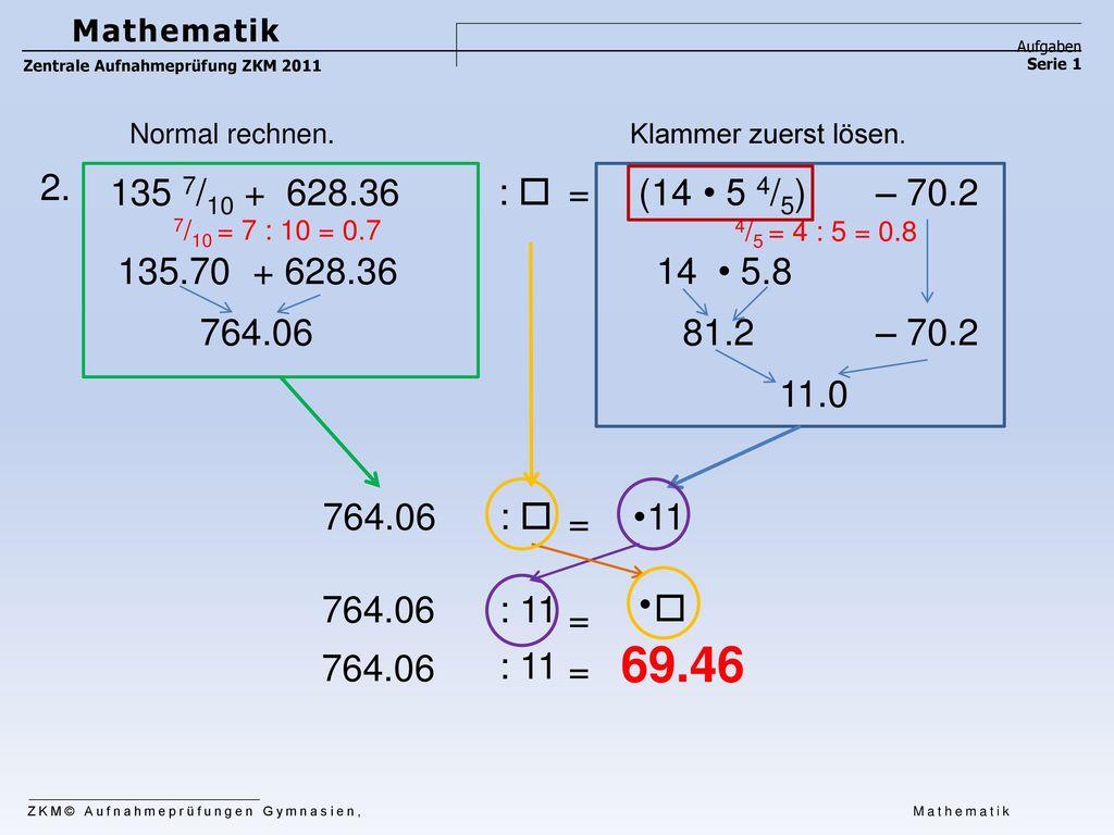Mathematik Aufgaben. Zentrale Aufnahmeprüfung ZKM 2011. Serie 1. Normal rechnen. Klammer zuerst lösen.
