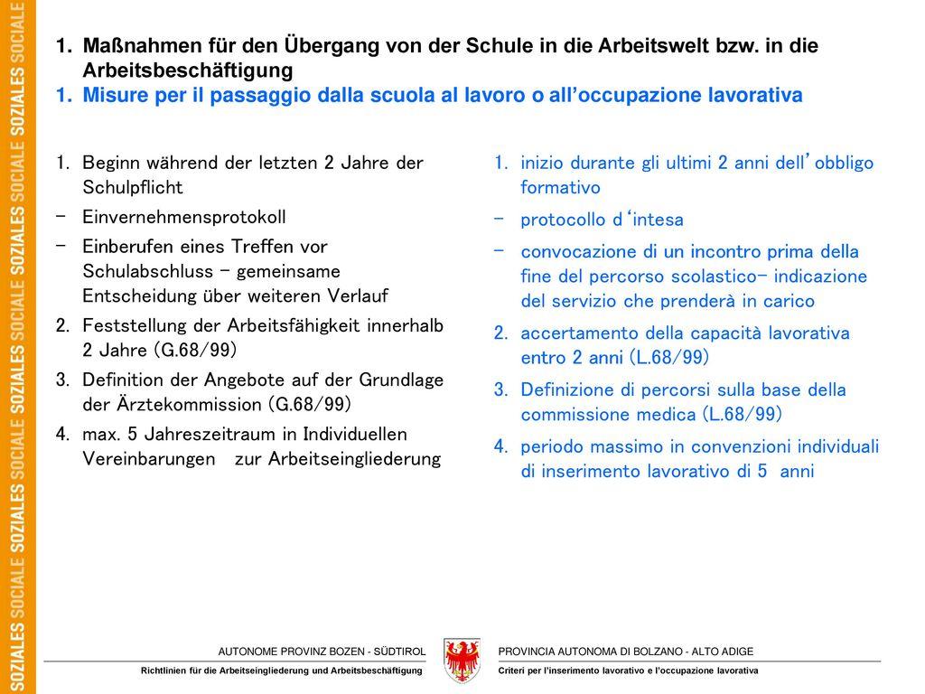 1. Maßnahmen für den Übergang von der Schule in die Arbeitswelt bzw