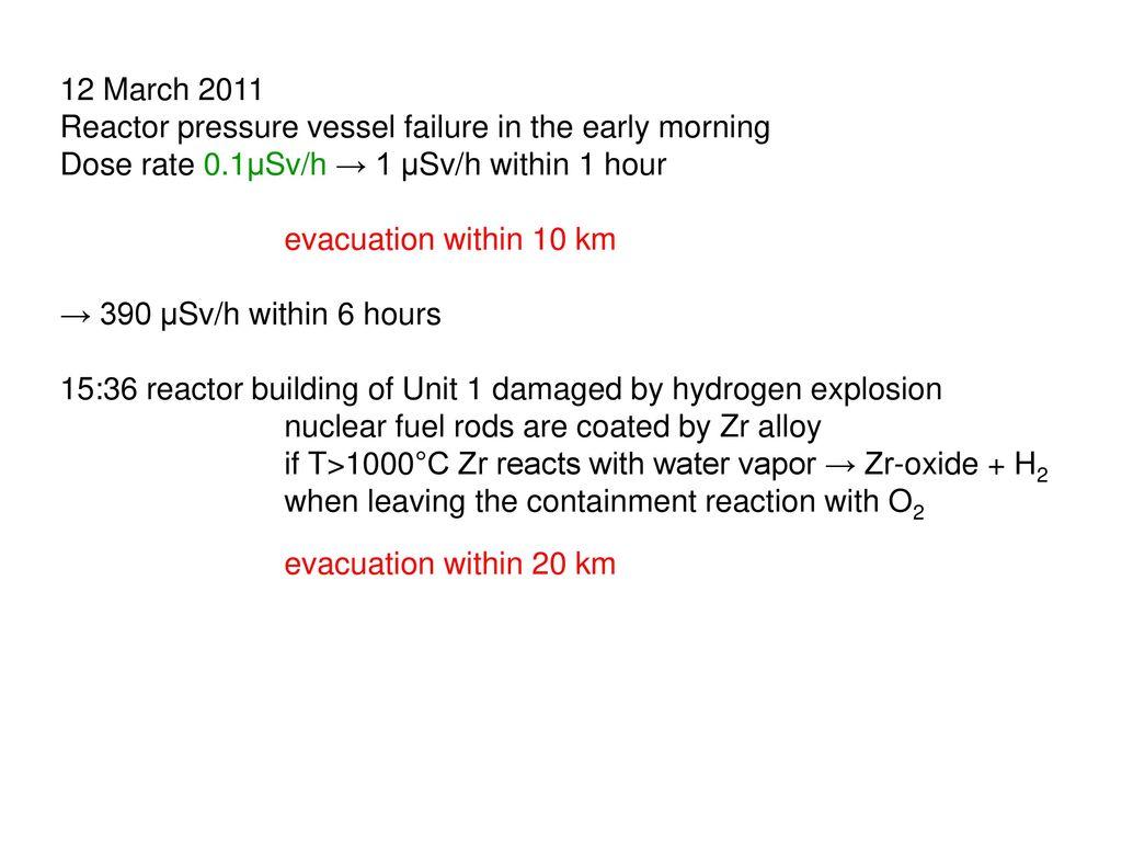 12 March 2011 Reactor pressure vessel failure in the early morning. Dose rate 0.1μSv/h → 1 μSv/h within 1 hour.
