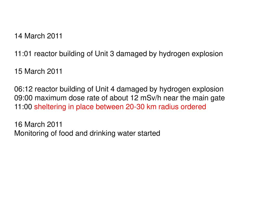 14 March 2011 11:01 reactor building of Unit 3 damaged by hydrogen explosion. 15 March 2011.
