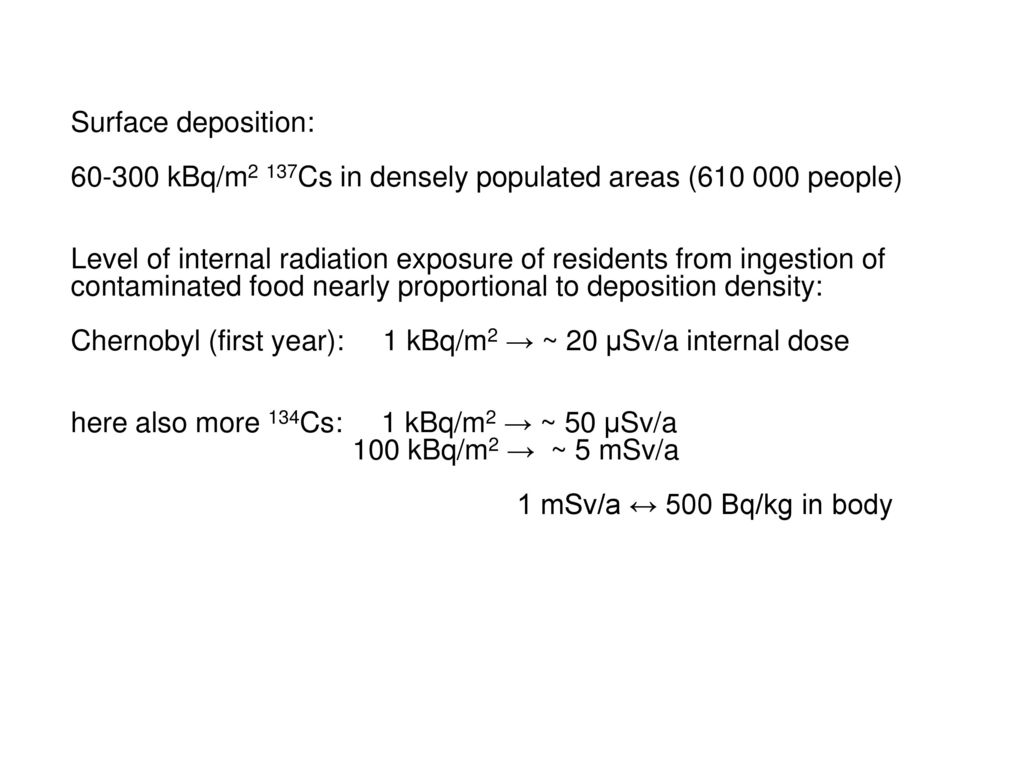 Surface deposition: 60-300 kBq/m2 137Cs in densely populated areas (610 000 people)