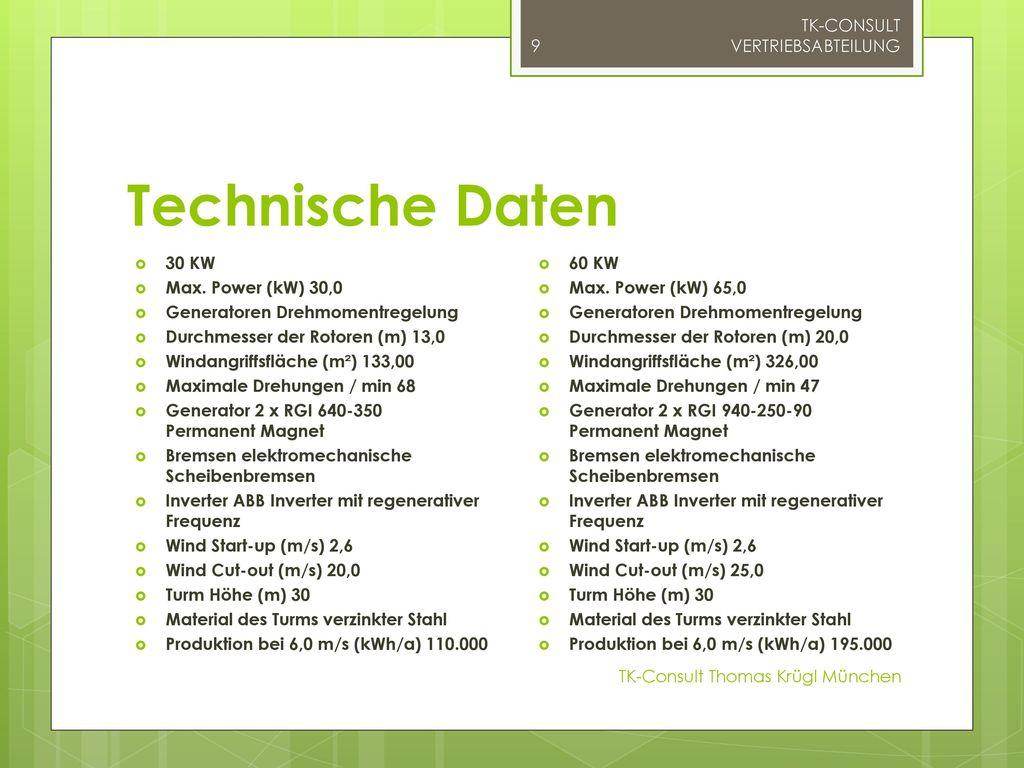 Technische Daten TK-CONSULT VERTRIEBSABTEILUNG 30 KW
