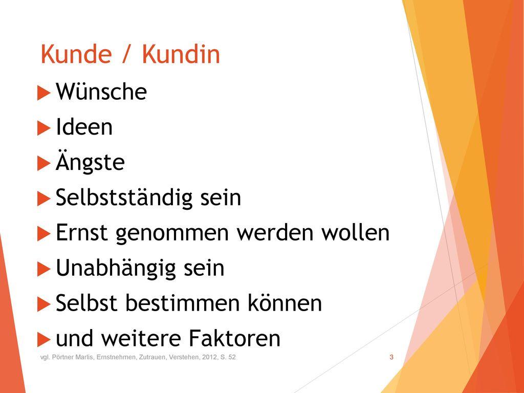 Kunde / Kundin Wünsche Ideen Ängste Selbstständig sein