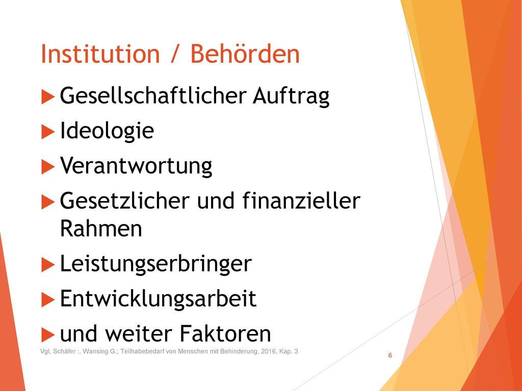 Institution / Behörden