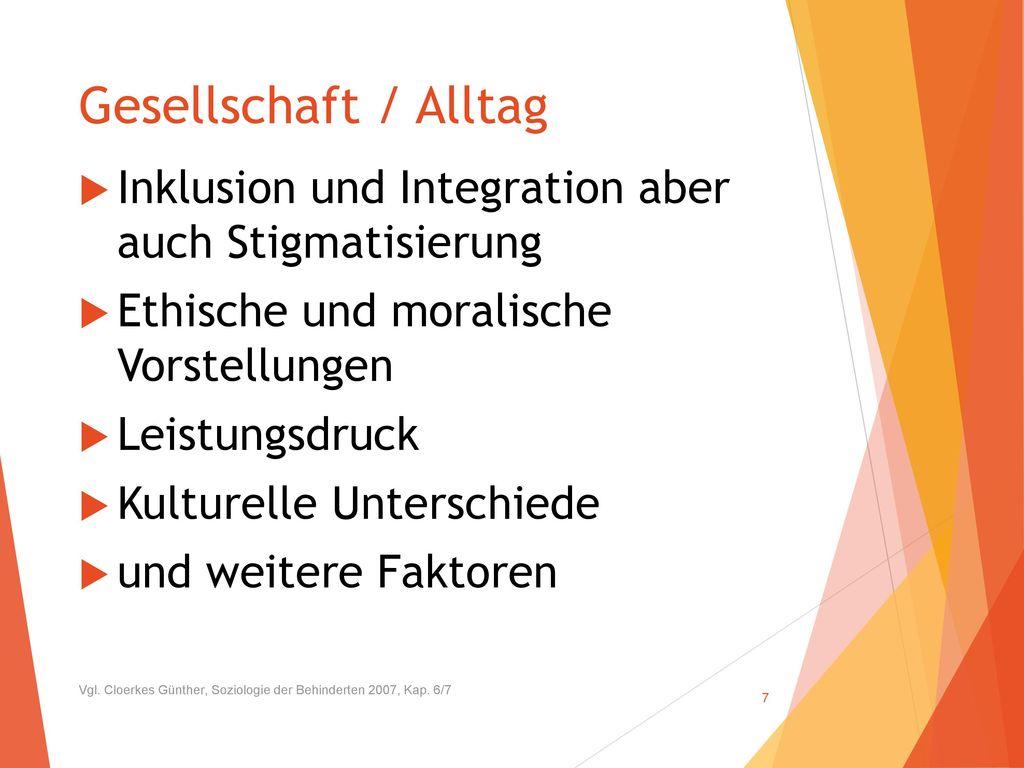 UBV Essen und Trinken 2014. Gesellschaft / Alltag. Inklusion und Integration aber auch Stigmatisierung.